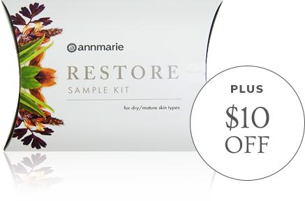 Get a Kit, Get a Coupon! Annmarie Gianni Restore Sample Kit for dry, moisture skin types