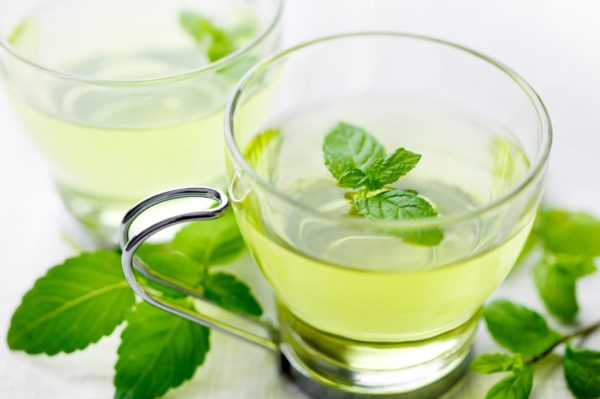 closeup of fresh mint tea, surrounded by fresh mint