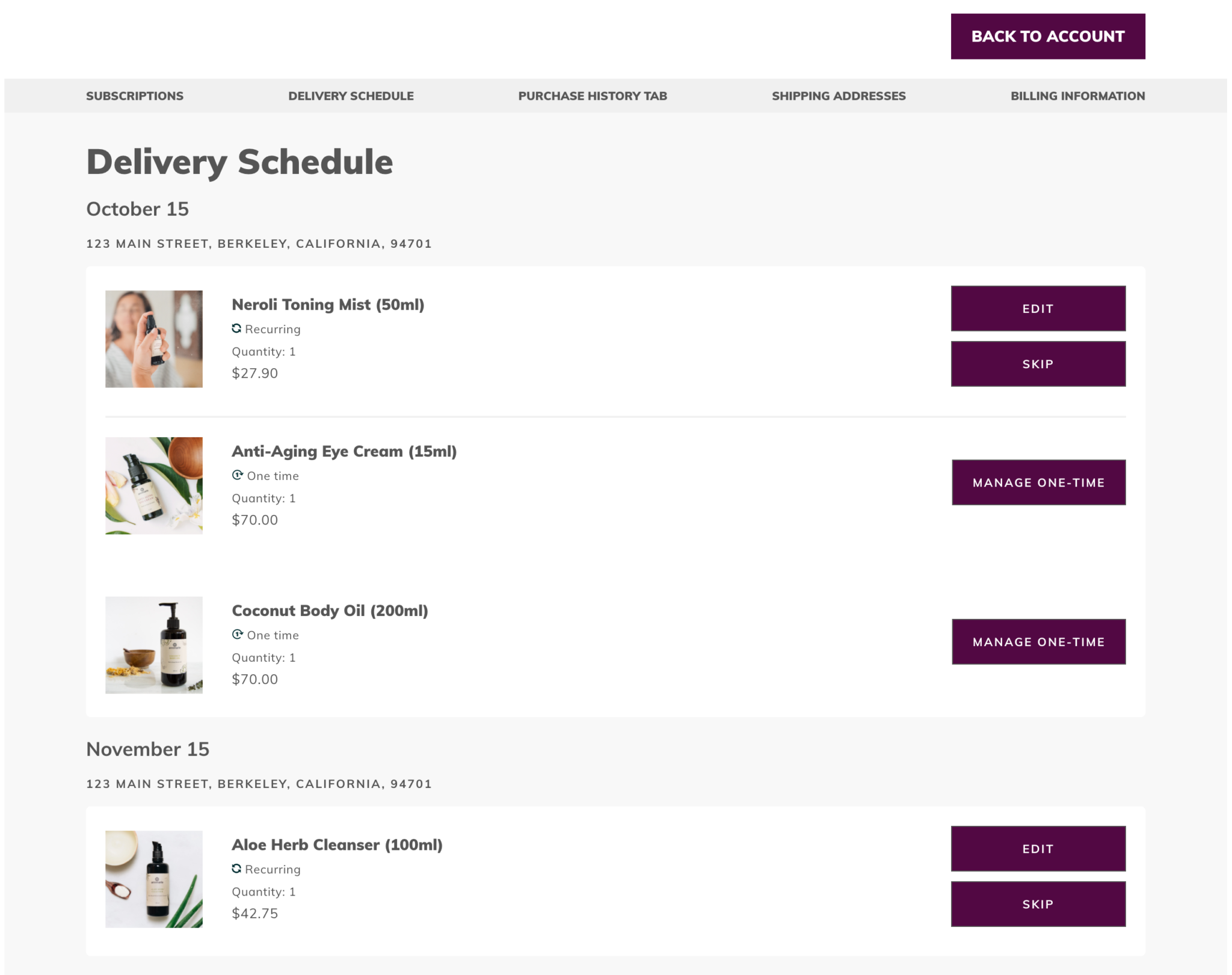 """IN ADDITION: In addition, you can also click """"Delivery Schedule"""" on the menu to the left to see when your next shipment will arrive. If you'd like to skip or cancel a shipment, you can do it from this screen as well."""